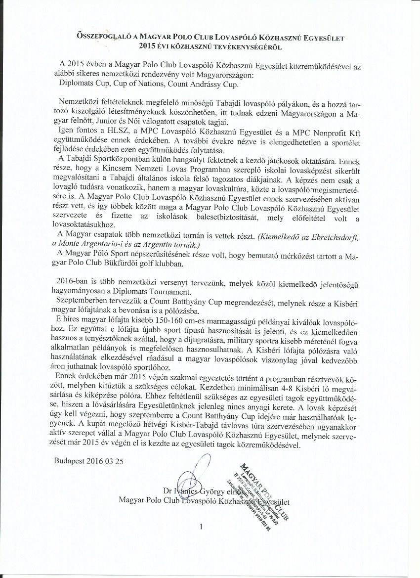 2015 mpc egyesletkzhaszn jelents